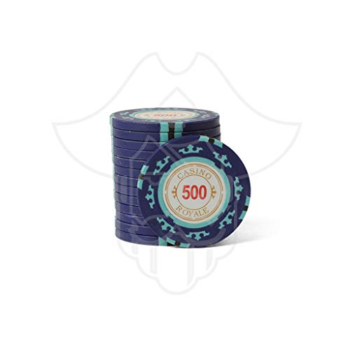 One Eyed Jack Casino Royale Clay Poker Chips 500 Denomination (Set of 25)