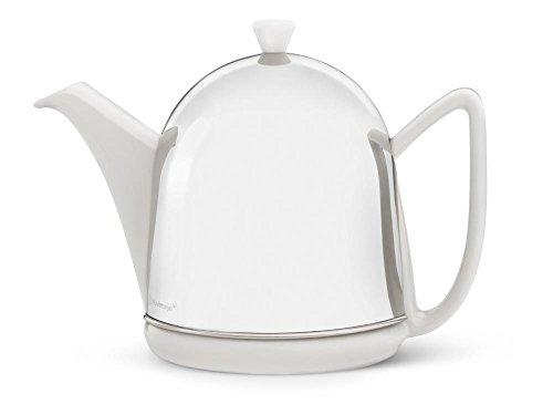 Steingut-Teekanne Cosy® Manto weiß mit filzisoliertem Edelstahlmantel hochglanzpoliert 1,0 ltr.