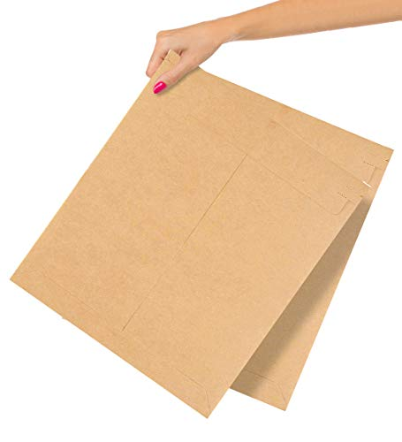 ABC 125 Pack Natural Kraft Stay Flat Mailers 12.75 x 15. Peel and Seal Brown Cardboard Envelopes 12 3/4 x 15. Rigid Cardboard Mailers. Photography Mailers for Documents, Photo, Prints.