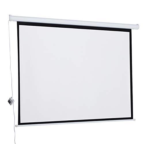 HOMCOM Schermo Proiezione Motorizzato Home Cinema 84 Pollici Bianco