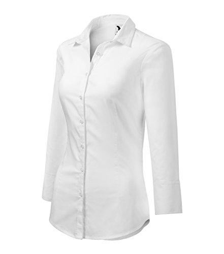 Adler Elegante Damen Bluse Sommer | Zweiteiliger Hemdenkragen 3/4-Arm, Manschetten | 100% Baumwolle | pflegeleicht | bis Größe XXL (Weiß, XXL)