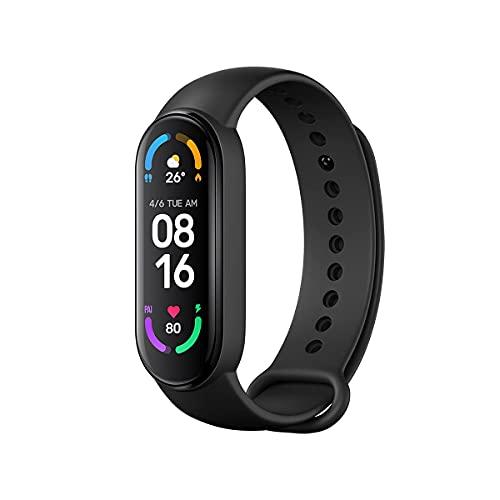 Xiaomi Mi Band 6, Smart Band 6 Versión Global Pulsera de Actividad, Detección de Oxígeno en Sangre, Monitor de Frecuencia Cardíaca, Monitor de Sueño, Pantalla a Color AMOLED de 1,56', 5 ATM, Negro