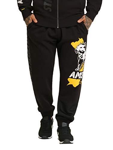 Amstaff Herren Jogginghose Orat, Größe:M, Farbe:schwarz/gelb/weiß