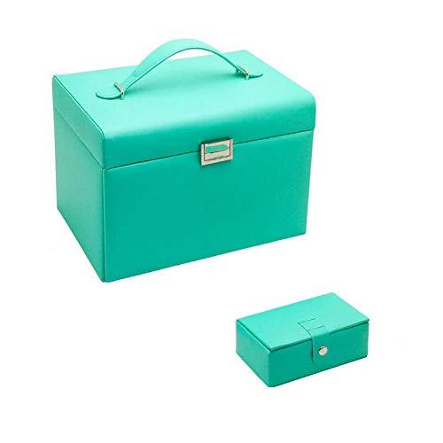 POMNEFE Joyero, caja de joyería de cuero de gran capacidad, caja de joyería de maquillaje para mujer, pendientes, collares, pulseras, cajas de almacenamiento de joyas