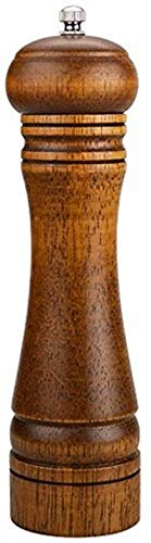 Best Retro Refillable Wooden Pepper Mill - Big Solid Oaken Wood Gourmet Professional Mills Shaker with Strong Non-corrosive Adjustable Ceramic Grinder Mechanism - Fine to Coarse - 8 Inches (Large)