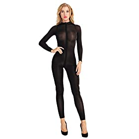 Agoky Women's One Piece See Through Mesh Sheer Long Sleeve Zipper Front Turtleneck Bodystocking Teddy Bodysuit