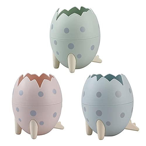 NINEZ 3 piezas lindo dinosaurio huevo plástico titular de la pluma soporte organizador escritorio lápiz pote contenedor papelería caja de almacenamiento regalo niños