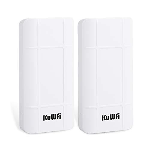 KuWFi 2-Pack Long Range WiFi Extender Outdoor Wireless Bridge 2.4GHz 300Mbps Pre-configured Nano Station Indoor & Outdoor Point to Point Wireless Bridge Client Bridge/CPE Support 24V POE [Pre-Pairing]