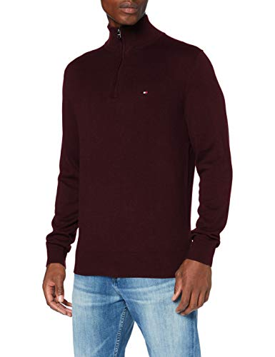 Tommy Hilfiger Organic Cotton Blend Zip Mock Suéter, Deep B