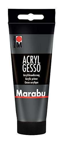 Marabu 12040050812 - Acryl Gesso schwarz 100 ml, feine, hochdeckende Acryl - Grundierung auf Wasserbasis, schwach saugend, für glatten Farbauftrag und gute Haftung von Farben und Medien