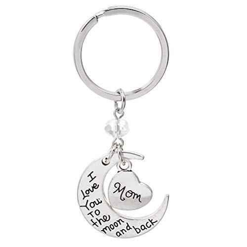 Amosfun Luna y corazón colgante llavero Amo a mamá Letras Día de la madre llavero Regalos (Plata)