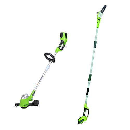 Greenworks 8.5' 40V Cordless Pole Saw, 2.0 AH Battery Included 20672 with 13-Inch 40V Cordless String trimmer/Edger, Battery Not Included 21332