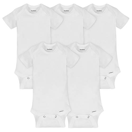 Gerber Baby 5-pack Or 15 Multi Size Organic Short Sleeve Onesies Bodysuits infant and toddler bodysuits, White 5 Pack, 0-3 Months US