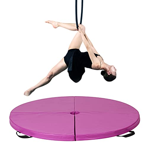 Pole Dancing Crash Mat, Gymnastic Yoga Stripper Beginner Thickened Protection Mat, Crash Folding Round Dance Padded Mat, for Club Party Bar Gym, 160Cm Diameter (62 Inches),Purple,160cm*10cm