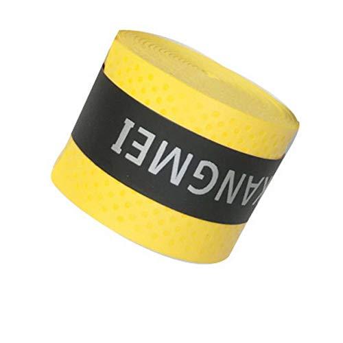 Monllack Raqueta de Tenis elástica PU Overgrip Antideslizante Absorbe el Sudor Grifos de Envoltura Suave Amortiguador de Raqueta de Tenis Seco/vibración Puños pegajosos (Amarillo)
