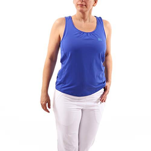 Sportkind Débardeur de tennis, fitness, sport - Coupe ample - Respirant - Protection UV UPF 50+ - Bleu - S