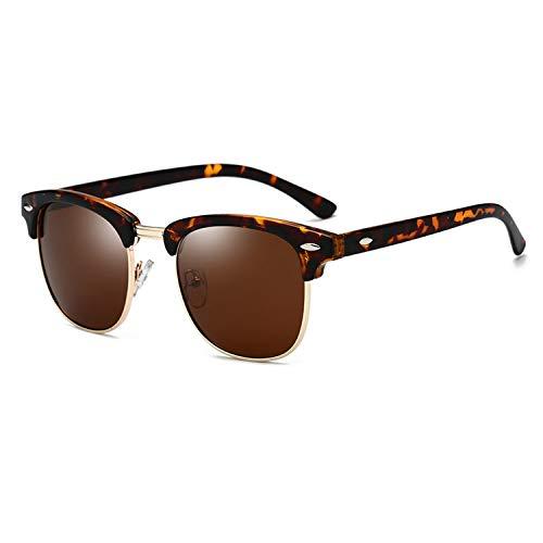 Yidarton Sonnenbrille Damen Herren Klassische Polarisiert Retro Unisex Halbrahmen Sonnenbrille UV400 Sonnenbrille verspiegelt Brillen mit Etui (3-Leopard)