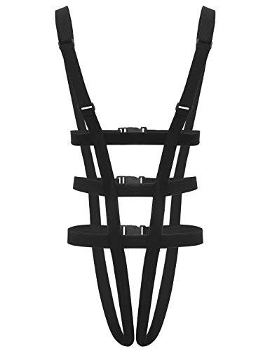winying Herren Elastisch String Body Ouvert Riemen Nylon Brust Harness Top Tanga Thong Einteiler Unterwäsche Clubwear Schwarz B OneSize