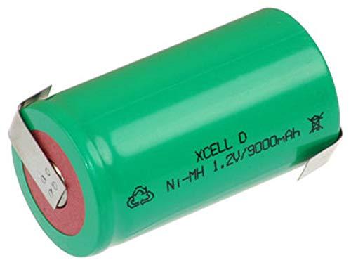 XCell Mono D Akku Zelle 9000mAh / 1,2V / NIMH mit Z-Lötfahne - Hochleistungs- Markenzelle in Industriequalität
