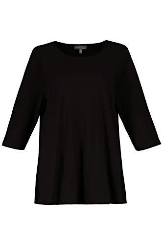 Ulla Popken Damen große Größen Damen große Größen Shirt, länger geschnitten, 3/4-Ärmel, Typ: Relaxed, bis Größe 58+ schwarz 42/44 schwarz 54/56 707147 10-54+