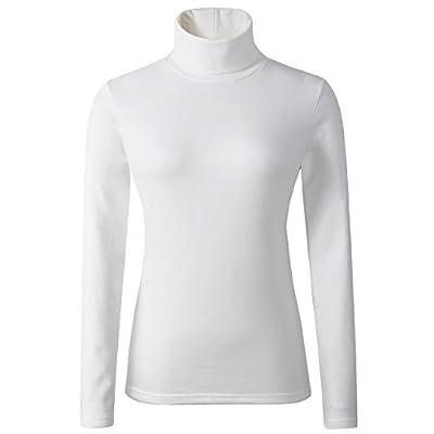 HieasyFit Women's Cotton Turtleneck Top Basic Layering Thermal Underwear ivory S
