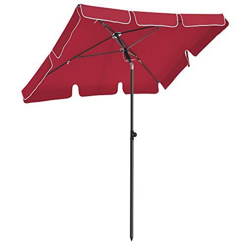 SONGMICS Sonnenschirm für Balkon, rechteckiger Gartenschirm, 200 x 125 cm, UV-Schutz bis UPF 50+, knickbar, Schirmtuch mit PA-Beschichtung, für Garten, Terrasse, ohne Ständer, rot GPU025R01