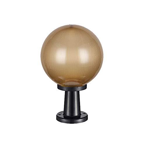 SB-63828, Wasserdichter Säulenscheinwerfer für den Außenbereich, Goldkugel-Kunststoffschirm-Türpfostenleuchten, schwarze Gartenleuchten auf Metallbasis für Innenhof, Zaun, Park, Gemeinschaft, Villa