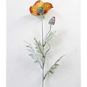 Artificial Flowers 5Pcs Artificial Big Poppy Flower with Leaves Fleurs Artificielles for Autumn Fall Home Party Decoration Wreath Fake Silk Flowers Wedding Bouquets