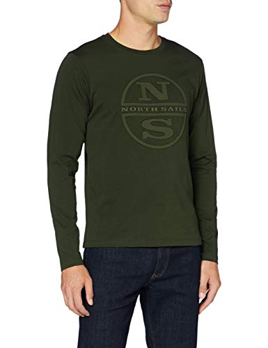 NORTH SAILS T-Shirt L/S W/Graphic, Forest Green, XXX-Large Uomo