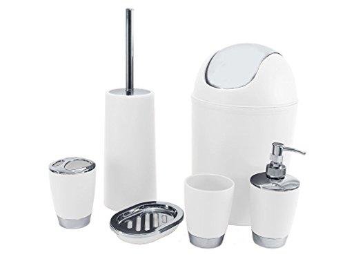 SQ Professional badrumstillbehörsset, vit, 6 delar