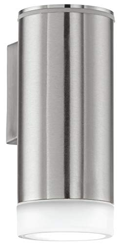 EGLO buiten-wandlamp, model Riga-LED, 1 lamp, roestvrij staal, kunststof gesatineerd, HV 1x GU10, 2,5 W inclusief lampen, 6,5 x 16 x 9,5 cm, beschermingsgraad IP 44, hoekmontage mogelijk 92735