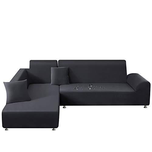 TAOCOCO Sofa Überwürfe Sofabezug Elastische Stretch Wasserdicht Sofa Abdeckung für L-Form 2er Set mit 2 Stücke Kissenbezug (3 Sitzer+3 Sitzer, Dunkelgrau)
