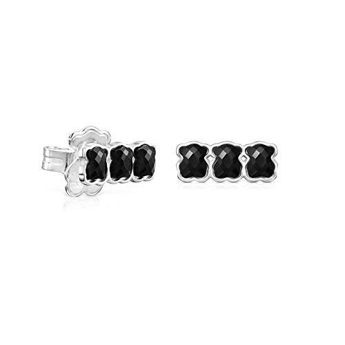 Pendientes Mini Onix de Plata con tres osos de Ónix