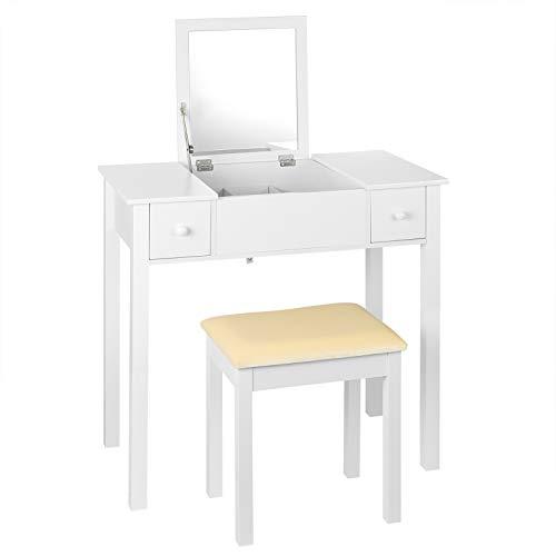 EUGAD 0023SZT Schminktisch mit Aufklappbarem Spiegel und Hocker Frisiertisch mit 2 Schubladen Große Tischplatte 75x40cm, Schreibtisch Kosmetiktisch für Schlafzimmer, Weiß