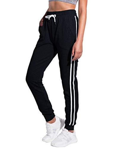 PULI Women's Jogger Pants Soft Drawstring Sweatpants for Gym Running Lounging Black XX-Large