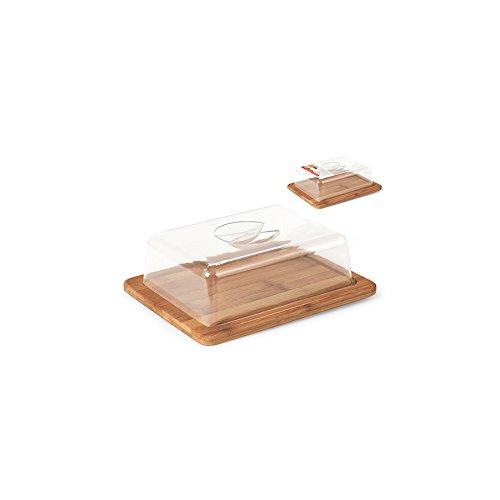 H&H 9719525 Formaggio Base Bamboo Rettangolare cm25x20h8 Contenitori cibi Barattoli, Plastica, Trasparente/Marrone