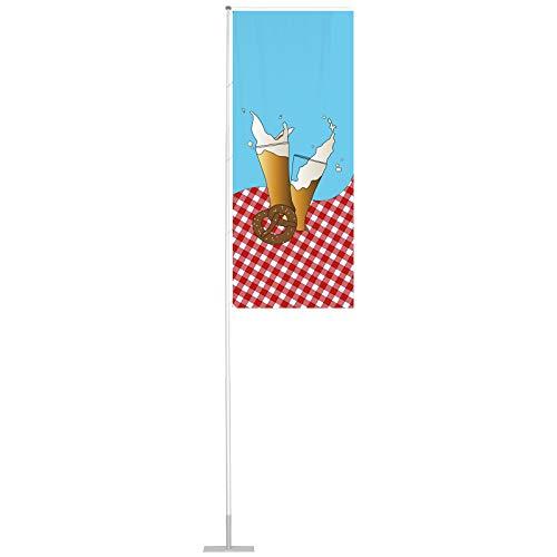 Vispronet Flagge 120x300 cm Biergarten ✓ für mobilen Fahnenmast T-Pole 100 & 200 ✓ Mastseite (Links) mit Ösen