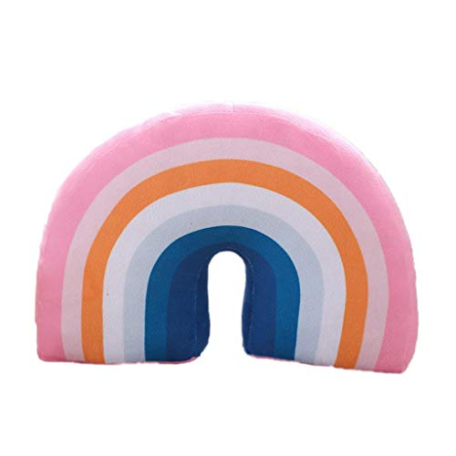 Generic Cojín de viaje para niños, cojín para el cuello, para la barbilla y el cuello, diseño de dibujos animados, arco iris, cubierta suave, para viajes en coche, tren, avión, color rosa