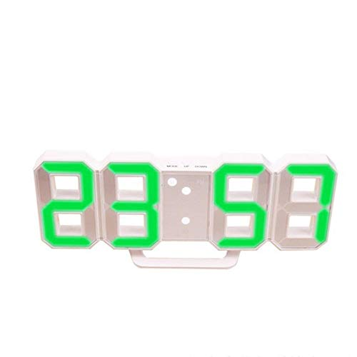 FPRW Digitale wekker met 3D-led-klok, wandklok, snooze-display, 12/24 uur, eenvoudige smart-mute-operatie, groen wit