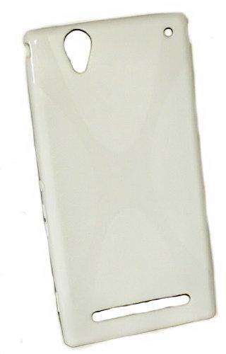 Design X-Rubber Silikon TPU Cover Hülle - Weiß - Handy Hülle Kappe kompatibel mit Sony Xperia T2 Ultra - T2 Ultra Dual