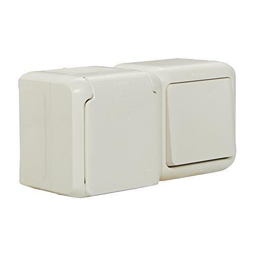 Legrand, Feuchtraum Aufputz Steckdosen-Schalter Kombination (waagerecht) IP44, Steckdose mit Schutzkontakt & Deckel,zur Montage auf der Wand , 782371