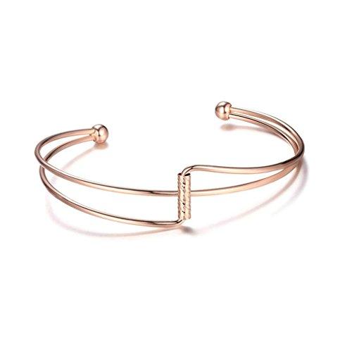Epinki, Chapado en oro para mujer niñas encanto pulsera irregular aberturas oro rosa