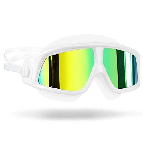 Gafas de natación para niños Gafas de natación para hombres Gafas para mujer Anti-niebla UV MARCO MARCO ADULTOS Deporte Impermeable Silicona Natación Gafas Eyewear ( Color : Mirrored white frame )