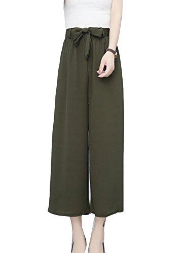 Mujer Elegante Baggy Cintura Elástica Gasa Pantalones Anchos Palazzo Fluidos Pantalones Fiesta Pantalones Tobilleros