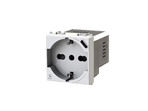 4box P40 USB3.0 - Presa elettrica schuko tipo P40 con integrato un alimentatore USB da 3 Ampere con connettore di tipo C compatibile con Vimar Plana bianca