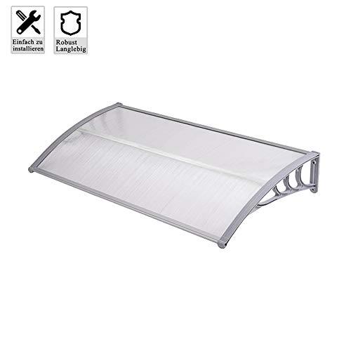 Froadp 120x100cm Pultvordach Vordach Türdach Sonnenschutz Pultbogenvordach Vordach Regenschutz Überdachung(Grau)