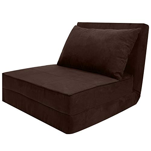 3 - Folding Sofa Adjustable Convertible Flip Chair, Sleeper Dorm Game Bed Couch Lounger Sofa Chair Mattress Living Room Furniture -(Brown)