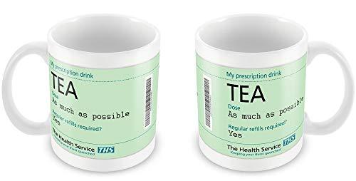 Theemok, witte keramische mok koffiemok recept thee grappig cadeau idee geheim kerstman office ziekenhuis 11 unces