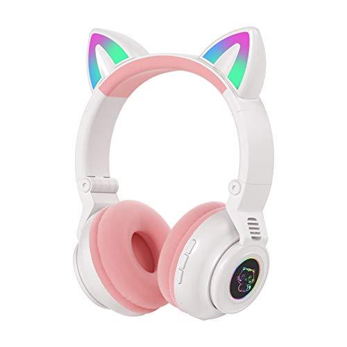 Amusingtao - Auriculares Bluetooth para gato, auriculares inalámbricos estéreo plegables en la oreja, para smartphone, ordenador portátil, TV, Navidad, San Valentín, regalo de cumpleaños