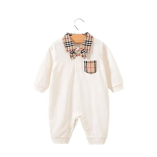 Baby Boys Romper Overalls Short Sleeve Polo Cotton Outfits Infant Clothes White Plaid Pocket 6-9 Months/73